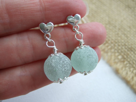 heart studs with sea glass marbles