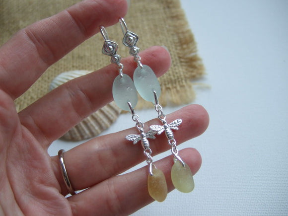 Chandelier Bee Earrings - Sea Glass Sea Foam and Yellow Dangling Sterling Silver