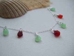 UV and Red Sea Glass Necklace - Multiple Pendants Dainty 18""