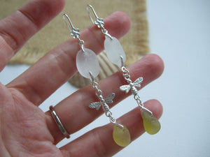 Chandelier Earrings - White and Yellow Sea Glass Bee Earrings