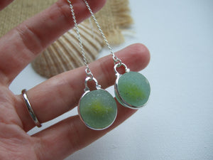 yellow cat eye sea glass marble threader earrings