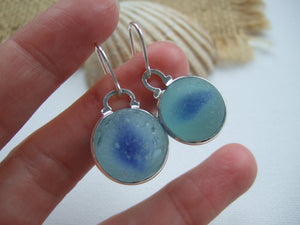 blue cats eye sea glass marble earrings