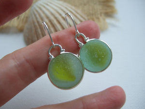 yellow cats eye sea glass marble earrings