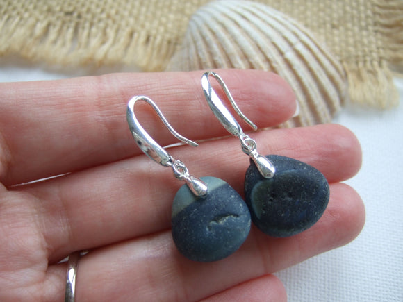 ocean wave earrings with black seaham sea glass