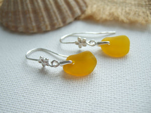 yellow sea glass dangling flower design earrings