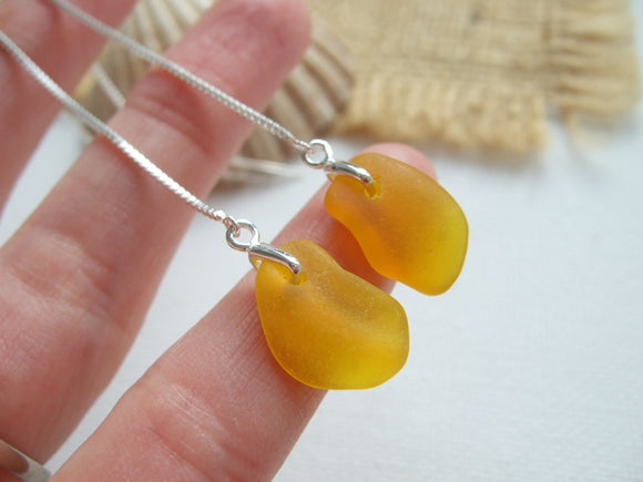 yellow sea glass threader earrings