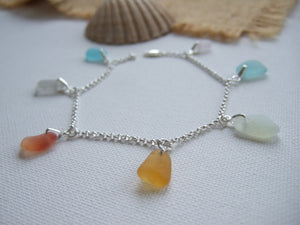 subtle colour sea glass rainbow bracelet