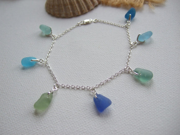 ocean colour blues sea glass bracelet