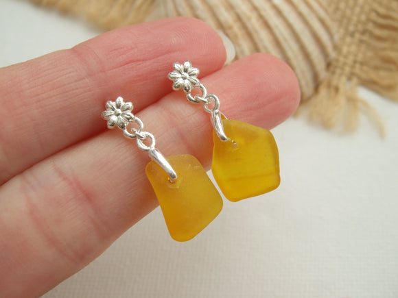 yellow sea glass flower studs