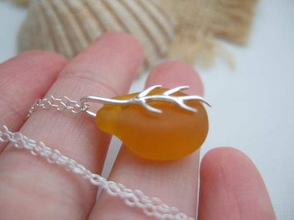 yellow sea glass coral branch pendant