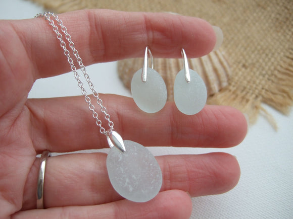 seaham sea glass necklace and earrings set