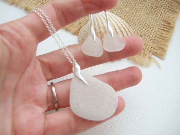white sea glass jewellery set