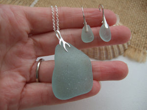 jewellery set with leverback earrings and coral design pendant sea glass