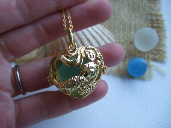 mermaid locket with sea glass marbles