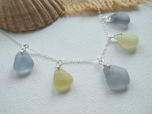 grey and yellow seaham sea glass necklace