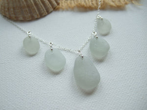 grey sea glass necklace