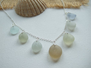 sublte colour sea glass necklace champagne and grey