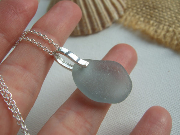 grey sea glass pendant seaham beach find