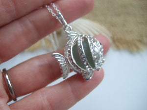 fish locket with sea glass codd marble