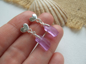 purple sea glass heart studs alexandrite