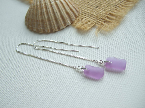 purple to grey colour changing neodymium sea glass earrings