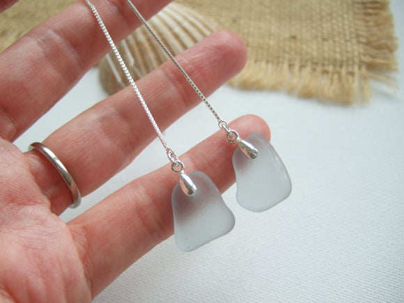 grey sea glass threader earrings
