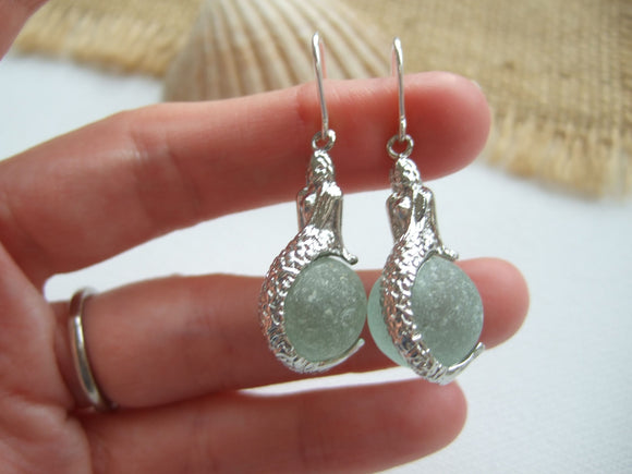 mermaid sea glass marble earrings