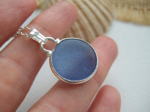royal blue japanese sea glass ohajiki flat marble necklace
