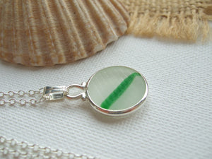 Japanese Sea Glass Ohajiki, Flat Marble Necklace, white green