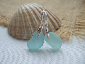 Wave Earrings - Seaham Aqua Sea Glass, Sterling Silver 2
