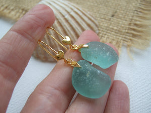 gold earrings with heart design and aqua sea glass