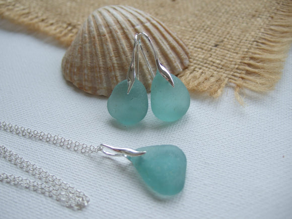 aqua sea glass jewellery set