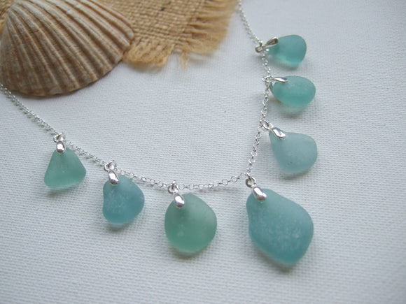 aqua sea glass necklace sterling silver