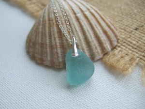 aqua sea glass petite pendant necklace