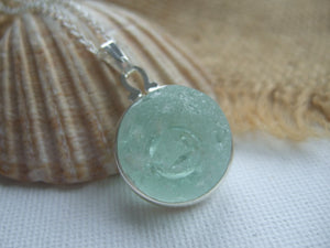 half sea glass marble necklace