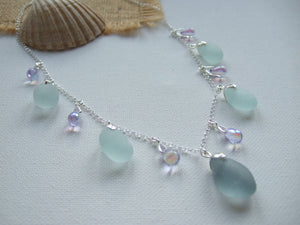 grey and sea foam alexandrite bead sea glass necklace
