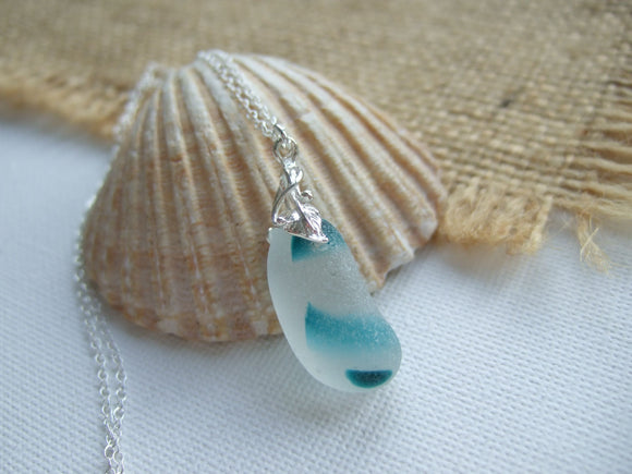 seaham sea glass turquoise striped flower setting