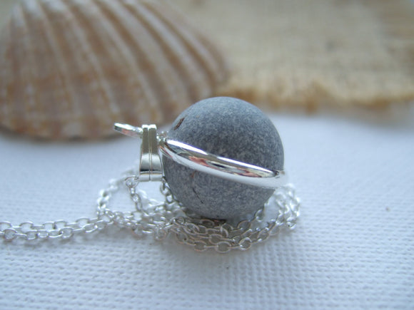 grey clay beach marble necklace
