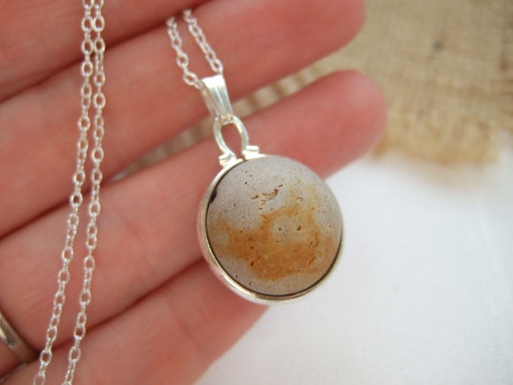 rusty clay beach marble necklace