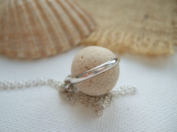 petite clay beach marble necklace