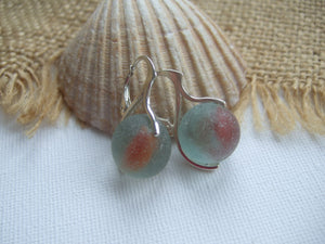 red cats eye sea glass marble earrings