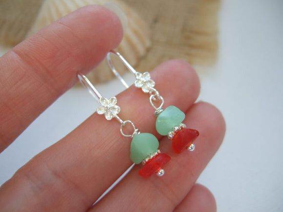 red and uv sea glass earrings
