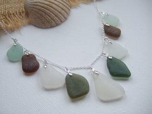 scottish sea glass mixed color necklace