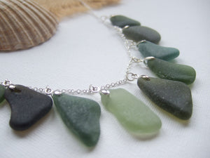 Green sea glass necklace from scotland