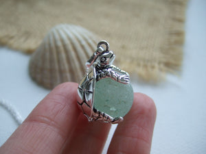 sea glass marble in turtle necklace