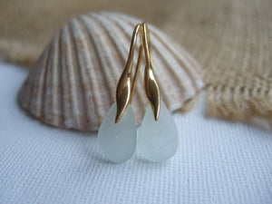 gold plated sterling silver sea glass earrings