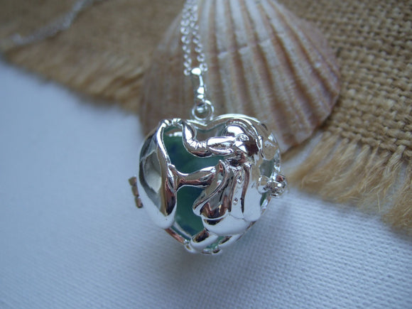 elephant locket with blue sea glass cats eye marble