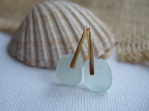 gold plated sea glass earrings