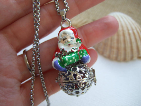 santa claus locket with sea glass marble