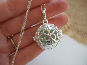 flower design locket with bonfire sea glass marble